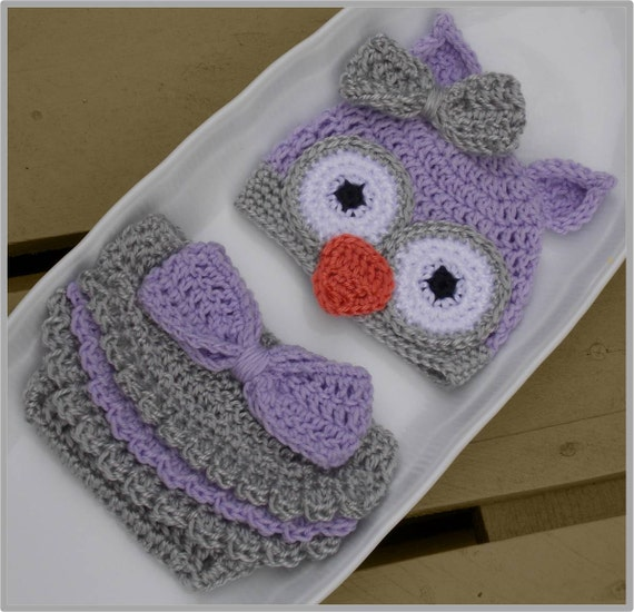 Free Crochet Owl Diaper Cover Pattern : Baby Owl Hat & Diaper Cover Pattern ... Instant Download