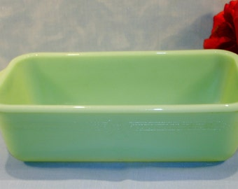 Fire King Philbe Jade-ite Refrigerator Dish or Loaf Pan, 9 inch