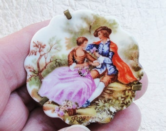 French Collectibles,  Porcelain, Porcelain Jewelry, Signed Fragonard Limoges,  Vintage Jewelry, Signed Vintage French Brooch,