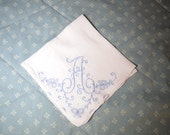 Vintage hankie with an A in Blue Embroidery