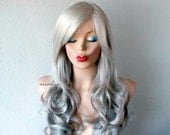 Gray hair ombre long curly hairstyle wig. Salt and Pepper hair color wig. Silver hair wig.