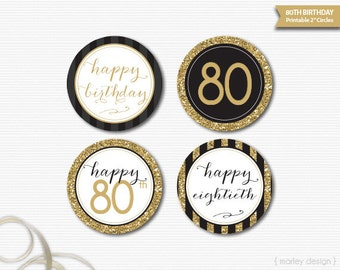 Black Gold Glitter 80th Birthday Decorations Printable Toppers 80th Birthday Cupcake Toppers Happy 80th 80th Birthday Tags 80th Party Decor