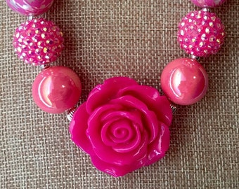 Hot pink rose chunky beaded necklace