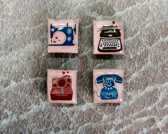 I Love sewing gift ideas under 10 repurposed Scrabble Tile magnets housewarming