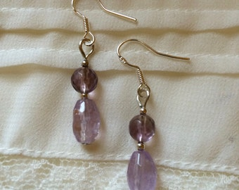 Faceted Amethyst Crystal and Sterling Silver Earrings