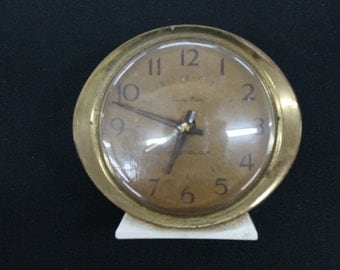vintage cream metal Westclox Baby Ben alarm clock brown face