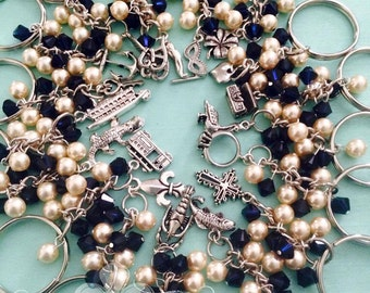 Traditional and New Orleans Wedding Cake Pull Keychains with Swarovski Pearls and Crystals