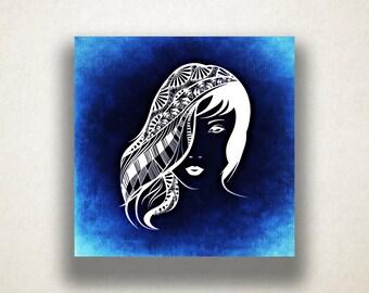 Woman's Portrait Canvas Art Print, Artistic Wall Art, Blue Canvas Print, Artistic Wall Art, Canvas Art, Canvas Print, Home Art, Wall Art