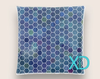 Honeycomb Pillow, Blue Pillow Cover, Geometric Pillow Case, Artistic Design, Abstract Design, Home Decor, Decorative Pillow Case, Sham