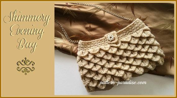 Crochet Pattern for Clutch, Purse, Evening Bag, Crocodile Stitch, PDF 12-056 INSTANT DOWNLOAD