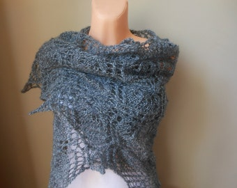 Lace shawl mohair yarn  dark grey, hand knitted, triangular shawl