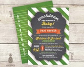 Chalkboard Inspired Football Gender Neutral Baby Shower Invitations - Touchdown they're having a Baby!