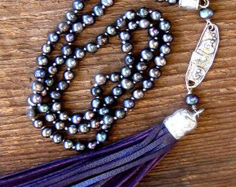 Pearls and Leather Tassel Necklace Bohemian Jewelry,Boho Jewelry