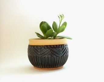 indigo planter, studio pottery planter, planter, studio pottery bowl