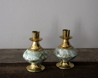 Pair of Vintage Turquoise and Brass Candlesticks