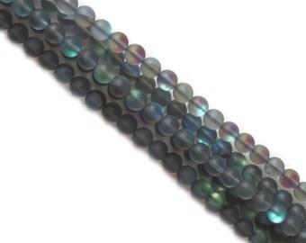 Black Matte Litmus Quartz, 8mm; 1 strand