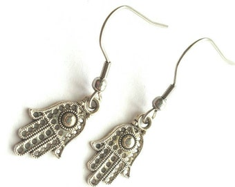 Haamsa Hand Earrings with Stainless Steel Earwires - Tibetan Silver - spiritual