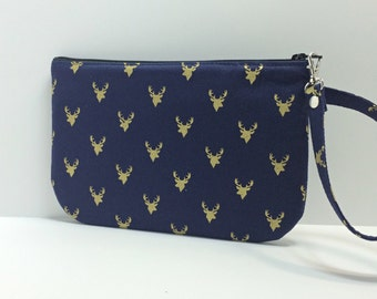Square Wristlet /pouch - Metallic gold deer head on Navy
