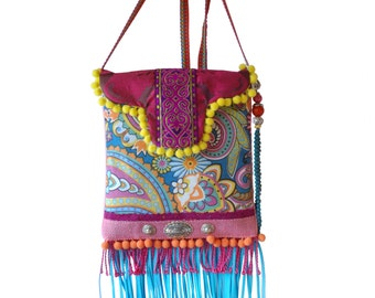 Small purse boho style, mini cross body colored, turquoise fuchsia yellow bag small, summer pouch hippie style , handmade purses OOAK