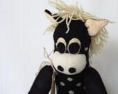 Handmade sock horse, plush pony, softie horse. Brown toy horse. Harold horse.