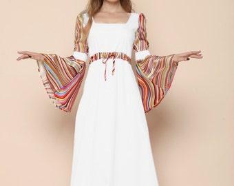 Boho Summer Wedding Bell Sleeve Dress, Medieval Wedding Dress, Plus Size 70s Wedding Dress, Fairy Fantasy Wedding Dress