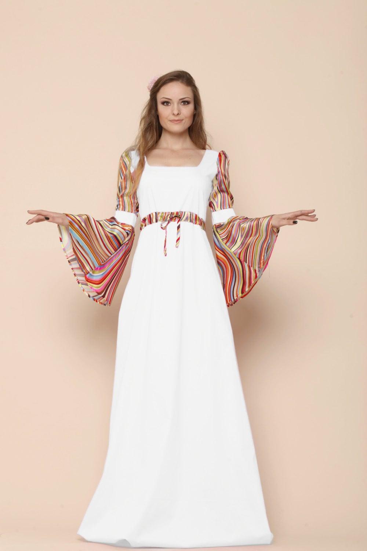 Boho summer wedding bell sleeve dress medieval wedding dress for Wedding dress bell sleeves