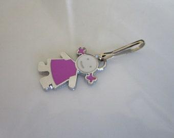 Silver tone little girl charm - zipper pull - jackets purses - little girl zipper pull - girl charm zipper pull - zipper pull coat girl
