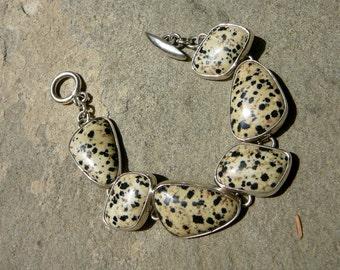Taxco Silver Bracelet, Leopard Jasper Bracelet, Link Bracelet, Sterling Los Castillo, Taxco Los Castillo, Taxco Bracelet, Taxco Jewelry