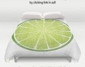 Lime Citrus Fruit Slice Distressed Art / Duvet Comforter Cover Bedding Art  / 2nd ships FREE! / Full, Queen ( XL Twin) & King