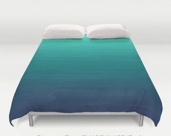 Moana inspired Seafoam to Navy Gradient Ombre Painted Appearance /  Duvet Cover or Comforter Bedding / Sizes Full, Queen ( XL Twin) , & King