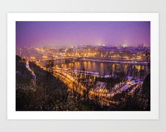 Prague City view Art Print Snow Prague Photo Art Print Landscape Photo Art Print Wall Hanging New Year Fan Art Print Prague Cityscape