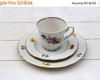 SALE Vintage German Coffee/Teacup and Saucer Trio Set- White with Mixed Flower Roses