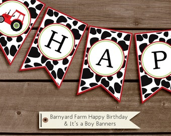 Barnyard Farm Printable Happy Birthday, Welcome and It's a Boy Banners Bunting INSTANT DOWNLOAD