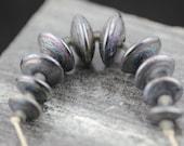 Organic Raku Metallic Disk Set of 10 Handmade Lampwork Beads