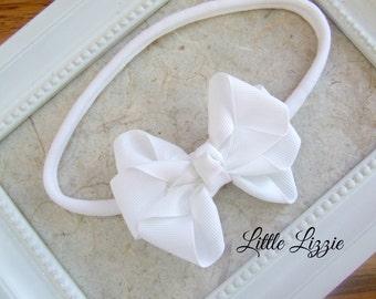 White Bow Headband, soft nylon headband