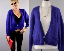 Fuzzy Mohair Cropped Purple  Sweater