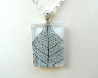 Real Skeleton Leaf Black and White Glass Rectangle Pendant Necklace