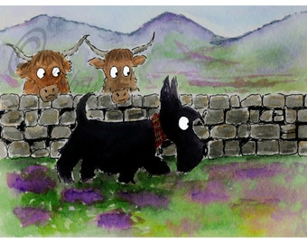 Scottie Dog 'Roamin in the Gloamin'  Art Print  #122 Scottish Terrier Dog