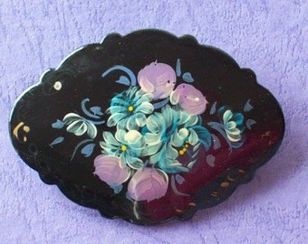 Vintage 1980s Brooch Hand Painted Floral Oval