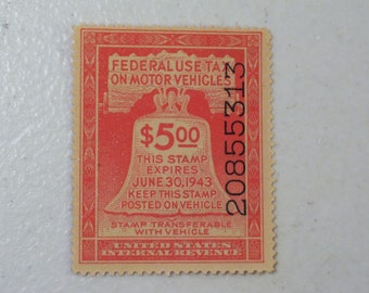 1943 US Motor Vehicle Revenue Tax Stamp, 5 Dollars, Scott # RV6, MNH, mint