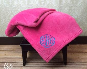 Qty 6 -Personalized Blanket, Plush Blanket, Embroidered Blanket, Monogrammed Blanket, Wedding Blanket, Bridesmaid Blanket, Custom Blanket