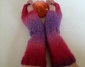 Sale - Red Fingerless Gloves Women - Hand Knitted Wrist Warmers - Knitted Arm Warmers -Purple Red Knit Fingerless Mittens - Clickclackknits