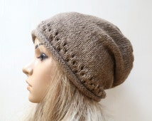 Wool Alpaca Slouchy Beanie Hat, Women Light Brown Hand Knitted Slouch Beanie, Eco Friendly Slouchy Wool Alpaca Hat, ClickClackKnits