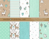 Doodle Digital Paper Mint 'Cute Christmas II' Printable Background Patterns for Cards, Invitations, Scrapbooking, Craft Projects...