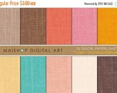 SALE Digital Paper Linen - Chocolate Elephant - Brown, Orange, Pink, Yellow, Turquoise... Fabric Texture Digital Sheets for cards, Invites..