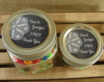 Personalized Mason Jar Wedding Favors - Chalkboard and Lace Design - 20 4 Oz  Mason Jars or 12 8 Oz Square Mason Jars With Custom Labels