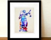 """Watercolor Lady Justice"""" - 8.5""""x11"""", Attorney print, Lawyer Gift, Lady Justice art, Pass the Bar gift, Lawyer Office Decor, Fine Art"""