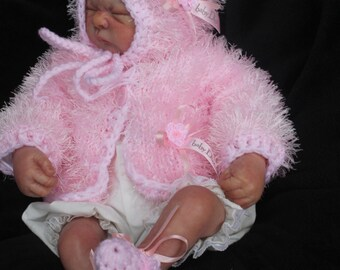 baby girl pink furry  jacket /hat /shoe/ set ...  lovely set for baby or reborn newborn or 0/3m with baby dior ribbon