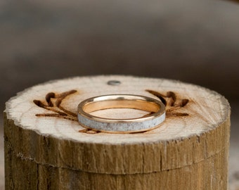 Womens Wedding Band Elk Antler Stacking Ring - Staghead Designs