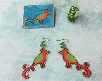 Jewelry set  - paper jewelry - bird brooch - birds earrings dangle and drop - beads rind adjustable